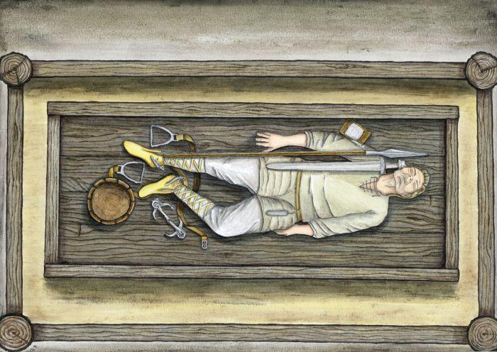Artist`s reconstruction of one of the graves in the central part of the cemetery. Fig. K. Patalon