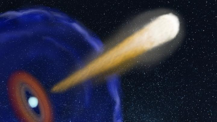 Artist's impression of the jet of material launched after the merger of the two neutron stars (Katharina Immer, JIVE)