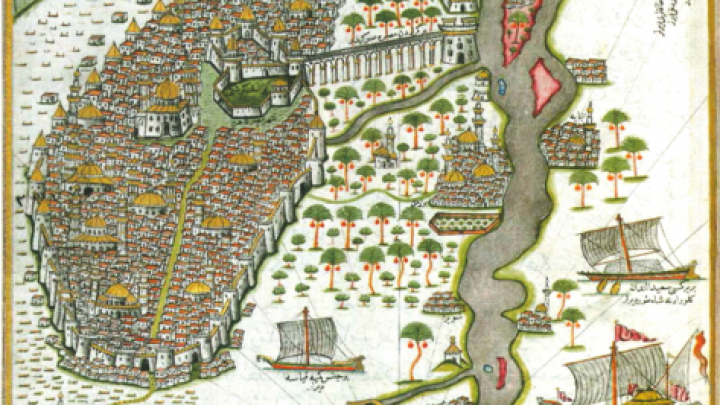 1. One of the earliest maps of Cairo, made by Ottoman Admiral Piri Reis in the 16th century. https://commons.wikimedia.org/wiki/File:Piri_Ries_Cairo_Map.png  public domain.