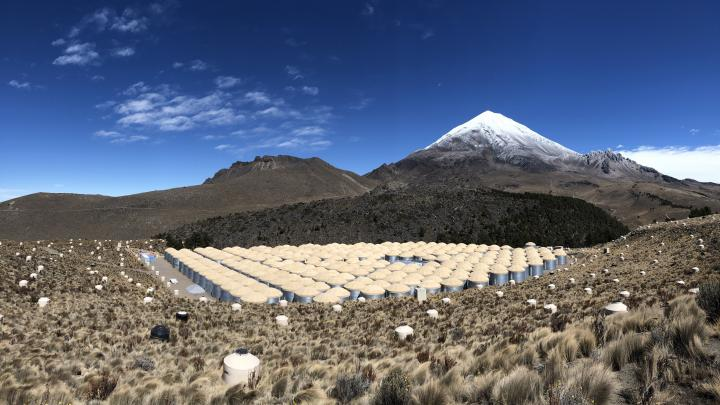 The High-Altitude Water Cherenkov (HAWC) gamma-ray observatory, located on the slopes of the Mexican Sierra Negra volcano. (Source: HAWC Observatory)