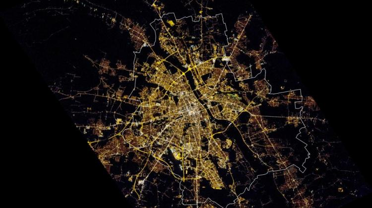 Photograph of the night lights of Warsaw made on 8 October 2015 from the International Space Station. Photo: Earth Observation Team/Space Research Centre PAS/NASA JSC