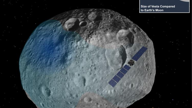 Photo: Elizabeth Palmer & Essam Heggy; Vesta - blue highlighted are the areas where a smoother surface and increased hydrogen presence have been observed.