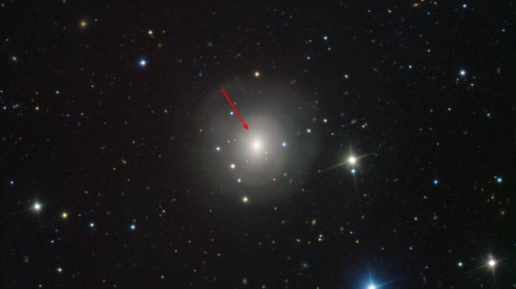 The image of the galaxy NGC 4993 shows the visible-light counterpart to a merging neutron star pair GW170817 (indicated with the arrow). The image taken with the VIMOS instrument on ESO's Very Large Telescope at the Paranal Observatory in Chile. Source: ESO.