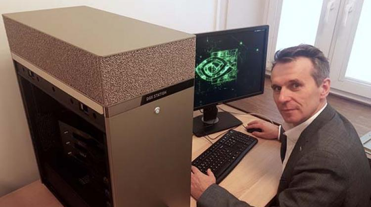 Source: Gdansk University of Technology; Prof. Jacek Rumiński from the Department of Biomedical Engineering WETI PG with the NVIDIA DGX Station