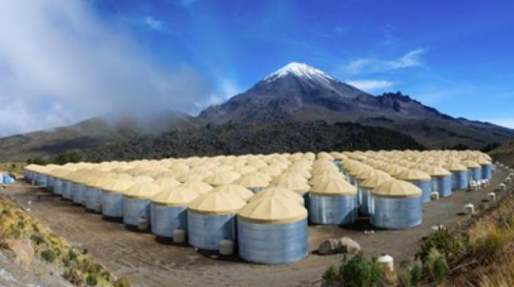 The High-Altitude Water Cherenkov Gamma-Ray Observatory on the slope of the Mexican Sierra Negra volcano. (Source: HAWC Observatory, J. Goodman)