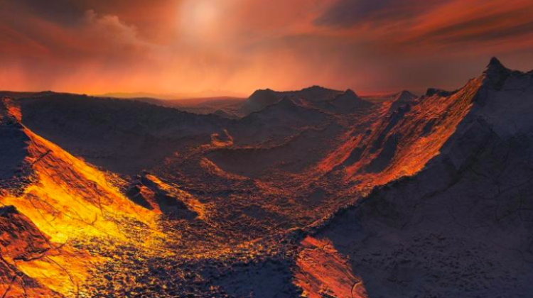 "An artist's illustration of the surface of the ""super-Earth"" detected around Barnard's star Credit: ESO/M. Kornmesser."