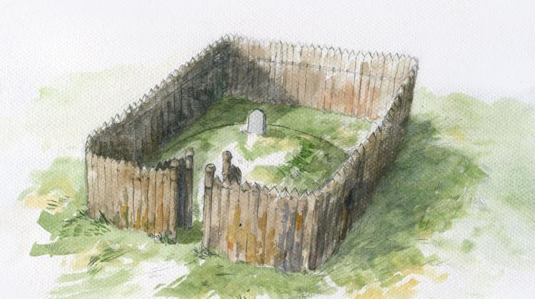 Reconstruction of the tomb-mausoleum in Bodzia, credit: W. Filipowiak