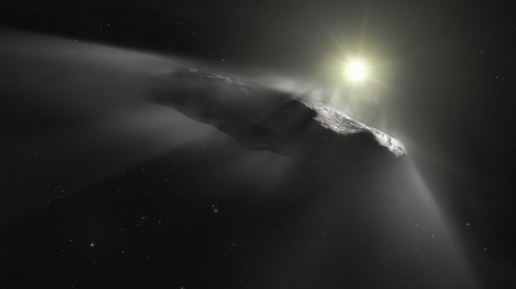 Artist's vision of the object 'Oumuamua that flew to the Solar System from the interstellar space. Credit: ESA / Hubble, NASA, ESO, M. Kornmesser