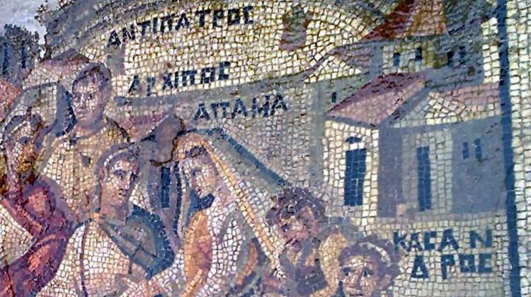 Central fragment of the looted mosaic from Apamea. Photo taken by an unknown author during an illegal dig in Apamea, credit: DGAM archive