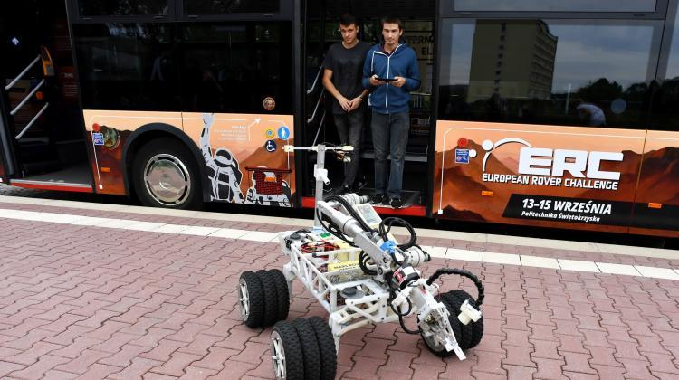 Kielce, 20.08.2019. The first Marsobus ride, Aug. 20 in Kielce. The passengers were participants of the press conference inaugurating the launch of the space vehicle promoting the European Rover Challenge. PAP/Piotr Polak