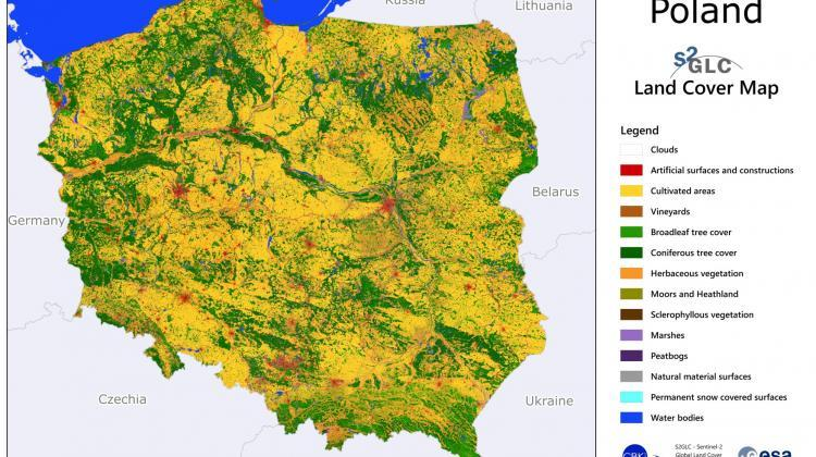 Map of land cover in Poland developed as part of the S2GLC project. Fig. Space Research Centre PAS