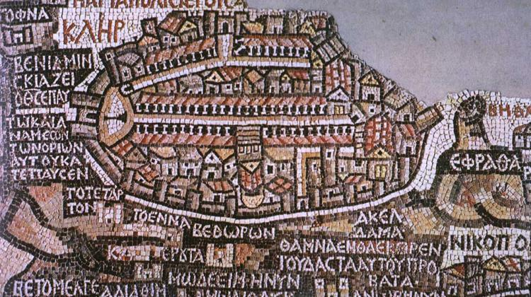 Professor Marek Olszewski noticed a previously unknown depiction of sundial in Madaba Map, a great mosaic located in Jordan. The sundial is located next to the gate on the left. Credit Wikipedia/public domain
