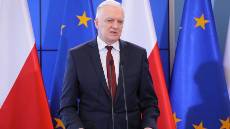 The Minister of Science and Higher Education Jarosław Gowin during a press conference at the Chancellery of the Prime Minister in Warsaw on the current situation related to the threat of coronavirus. PAP/Paweł Supernak 11.03.2020