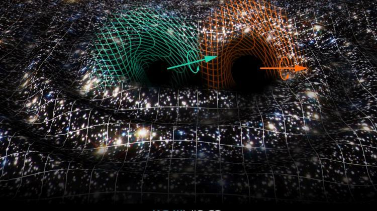 Artist's interpretation of the coalescence (joining) of the binary black hole system responsible for the GW190521 signal. Space-time, presented as a grid over the image of the cosmos, is distorted by the GW190521 wave. Credit: Raúl Rubio / Virgo Valencia group / The Virgo Collaboration.