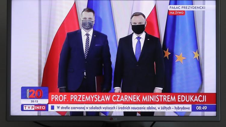 Broadcast of the ceremony in the Presidential Palace in Warsaw, during which the President of the Republic of Poland Andrzej Duda (R) appointed Przemysław Czarnek (L) the Minister of Education and Science, Oct. 19. Czarnek's appointment was delayed due to his infection with the coronavirus. PAP/Paweł Supernak 19.10.2020