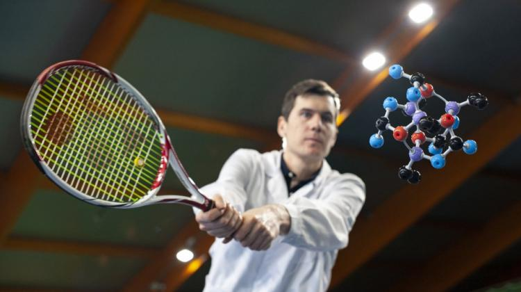 In mechanochemistry, the molecules are hit to generate energy needed for chemical reaction to occur. It's like hitting the tennis ball to start the rally. Source: IPC PAS, Grzegorz Krzyżewski