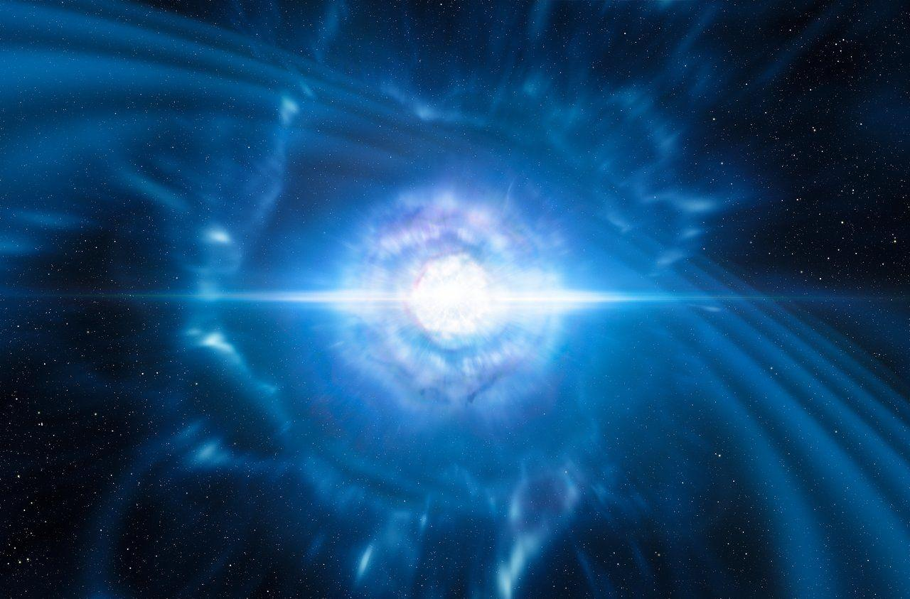 Artist's impression of two merging and exploding neutron stars. Source: ESO/L. Calçada/M. Kornmesser.